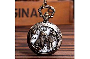 Vintage kapesní hodinky se dvěma vlky