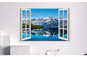 Samolepka na zeď - Výhled na jezero v horách