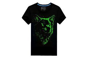 Svítící pánské triko s vlkem