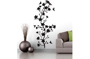 Samolepka na zeď - větvička s kolibříky