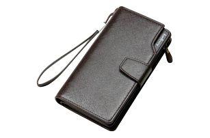 Velká černá peněženka s popruhem