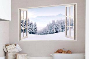 Samolepka na zeď - Zasněžená krajina - poštovné zdarma