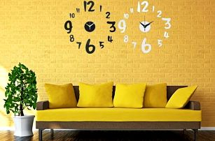 3D nástěnné hodiny se samolepkou na zeď - poštovné zdarma