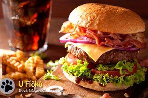 2x mega burger + 200 g hranolků a česnekový dip v hospůdce U Fíčků v Praze