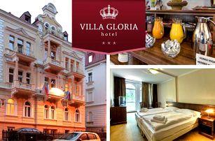 Mariánské lázně pro dva v Hotelu Villa Gloria v pokojích typu Deluxe se snídaní nebo polopenzí a ve všední dny s nocí navíc zdarma