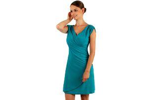 Dámské šaty se zavinovacím efektem pro plnoštíhlé tyrkysová