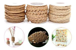Ozdobné jutové provázky pro dekorování předmětů