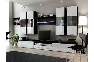 Obývací stěna DREAM I, černá matná / bílý lesk