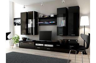 Cama Obývací stěna DREAM II, černá matná/černý lesk