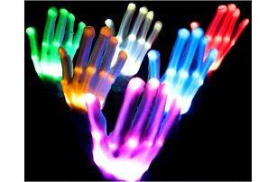 Svítící barevné LED rukavice