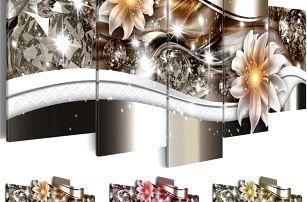 Plátěný obraz s motivem diamantů a květin - 5 ks - bez podložek a rámů