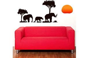 Samolepka na zeď - Sloni na safari - dodání do 2 dnů
