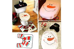 Vánoční sada na toaletu - Sněhulák - 3 kusy - poštovné zdarma