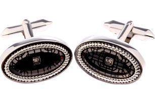 Fashion Icon Manžetové knoflíky oválné s krystalem