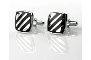 Fashion Icon Manžetové knoflíky proužky z chirurgické oceli, rhodiované
