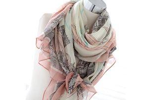 Dámský šátek v lososové barvě