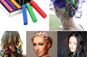 6 barevných kříd na vlasy