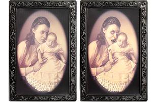 Hororový 3D obraz s měnící se tváří matky s dítětem - poštovné zdarma