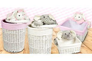 Dva veselé proutěné košíky na dětské hračky - motiv slona nebo králíčka