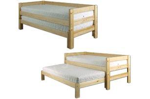 Dřevěná postel 90x200 LK134 s přistýlkou borovice