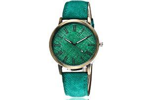 Stylové dámské hodinky s jeanovým páskem