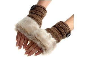 Zimní návleky na ruce s kožešinou Mia
