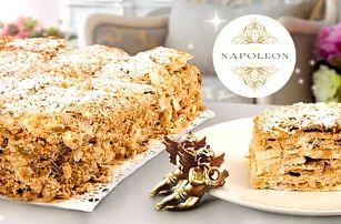 Vrstvený krémový dort Napoleon z listového těsta: gramáž 3 kg a doprava po Praze zdarma