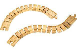 BIGJIGS Dřevěné vláčkodráhy - Ohebná kolej (2 ks)