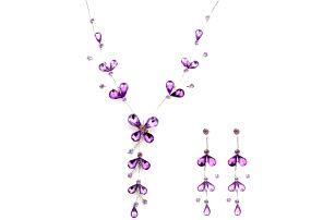 Sada fialového náhrdelníku s náušnicemi