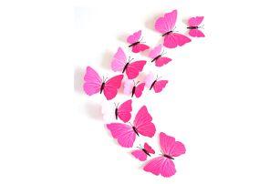 3D samolepky růžových motýlů