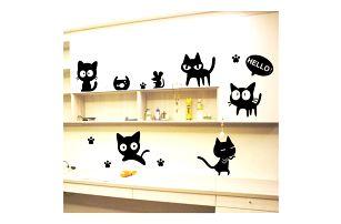 Samolepky na zeď s roztomilými kočičkami
