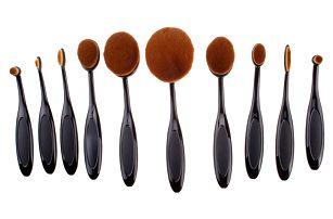 Sada oválných kosmetických štětců - 10 kusů - dodání do 2 dnů