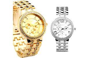 Dámské hodinky Geneva s krystalky, které září
