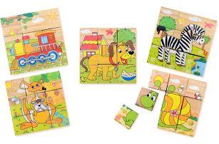 Dřevěné skládací kostky s motivem pohádek pro děti
