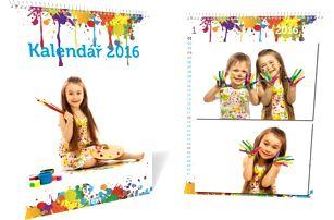 13stránkový nástěnný měsíční fotokalendář pro rok 2017 s vašimi fotografiemi, formát A3