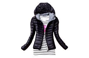 Dámská podzimní prošívaná bunda s kapucí