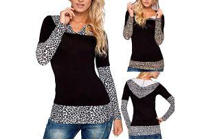 Dámské leopardí tričko s kapucí Debora