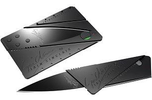 Praktický skládací nůž ve tvaru kreditní karty z nerezové oceli
