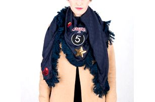 Fashion Icon Šála velká pléd velký s nášivkami STAR