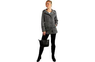 Krátký melírovaný kabátek s límečkem světle šedá