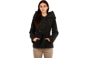 Krásný kabátek s moderní kapucí tmavě šedá