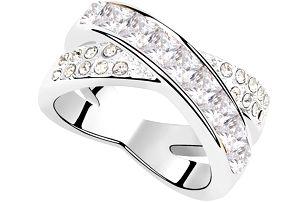 Fashion Icon Prsten rhodiovaný s barevnými krystaly Swarovski elements