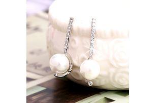 Fashion Icon Náušnice rhodiované se zirkony malá perlička