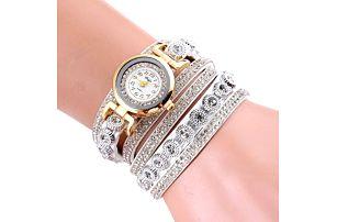Bohatě zdobené vícevrstvé dámské hodinky - bílé - dodání do 2 dnů