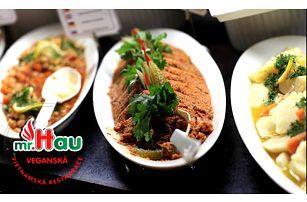 50% sleva na pokrmy z veganského bufetu v restauraci Mr. Hau. Snězte, co se vejde na talíř.