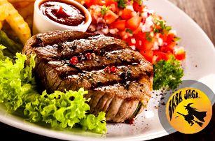 Lahodné steaky pro 2 osoby v hospůdce Baba Jaga