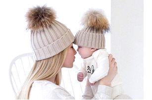 Zimní čepice pro maminku a miminko - 6 barev