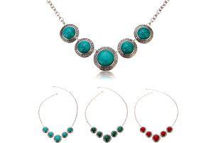 Dámský náhrdelník s pěti kameny ve vintage stylu