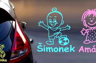 Zakázkové samolepky Dítě v autě s textem