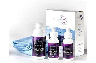 Set nanokosmetiky pro péči o auto nebo motorku: nanošampón + prostředek na ochranu a obnovu laku